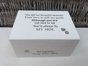 Personalised In Memory Of A Loved One ~ Box ~ WIFE ~ any Name Bereavement Loss - 332624042734
